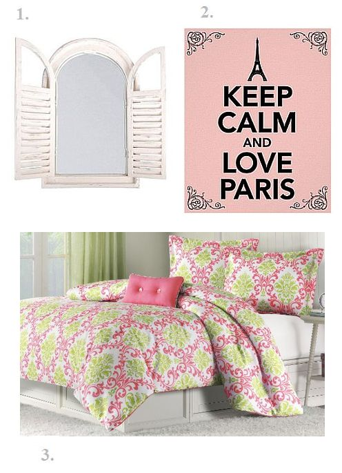 pink paris themed bedroom idea
