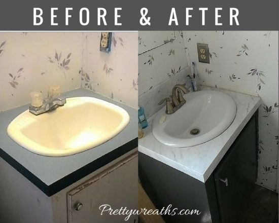 mobile home bathroom vanity before and after
