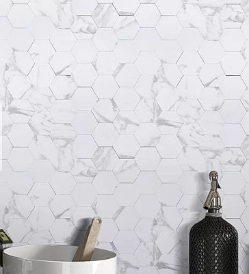 White faux look a like peel and stick tile! This is one gorgeous peel and stick variety that I'm leaning toward for my bathroom makeover.