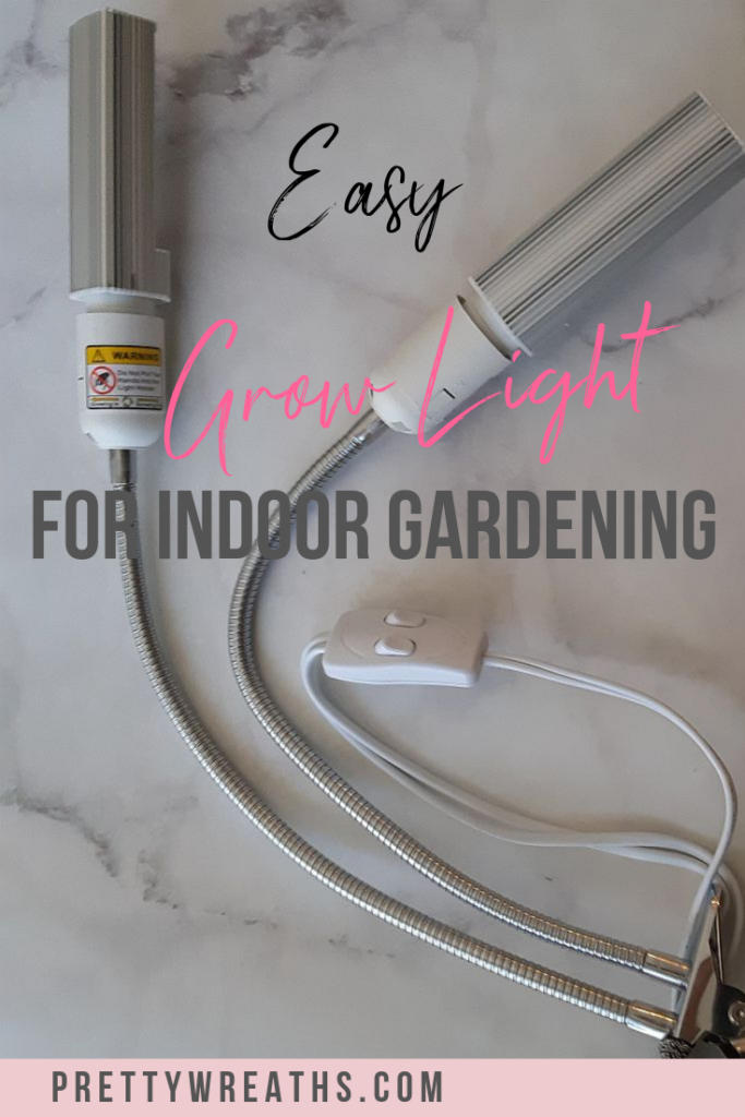 I wanted to give my plants more light by investing in a plant light to help them along. This plant light is a handy tool for inside gardening.